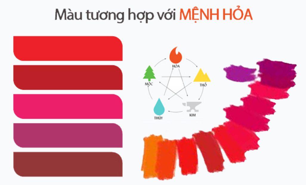 màu tương sinh mệnh Hỏa